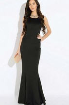 Scoop Neck Sleeveless Mermaid Jersey Floor Length Dress With Pleats