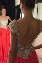 Gorgeous Crystal Open Back Evening Dress 2016 Cap Sleeve Long Chiffon Prom Gown