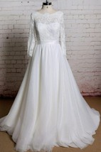 Tulle A-Line Long Sleeve Dress With Lace Bodice and Keyhole Back