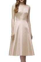 V-neck A-line Tea-length Bridesmaid Dress