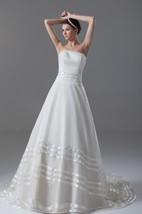 Stylish Satin Organza Sleeveless a Line Strapless Wedding Dresses