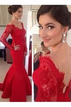 Red Sexy Long Sleeves Prom Gowns 2016
