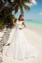 A-Line Floor-Length Bateau-Neck Short-Sleeve Corset-Back Lace Dress With Keyhole