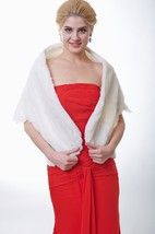 Faux Fur Wedding Shawl With Lace Hemline
