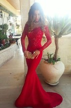 Sexy Red Lace Appliques Mermaid Prom Dress 2016 Sweep Train Long Sleeve