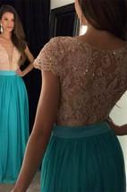 Newest Lace Sequined V-neck Evening Dress 2016 Short Sleeve A-line