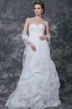 Sweetheart Ruched A-line Organza Gown With Pick Up Skirt