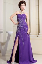 Sweetheart Floor-Length Front-Split Dress With Crystal Detailing