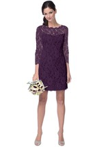 3-4-Sleeved Lace Sheath With Scalloped Edge Neckline