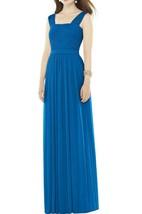 Square Neck Ruched Chiffon Long Bridesmaid Dress
