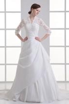 Alluring Ball Gown Sleeve Taffeta High Neck Wedding Dresses