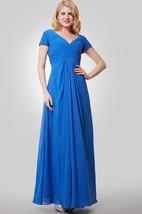 Short Sleeve V-Neck A-Line Chiffon Dress With Crisscross Ruching