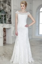 Sheath Long Scoop Cap-Sleeve Corset-Back Lace Dress With Beading