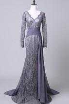 V Neck Long Sleeve Sheath Lace Long Dress With Chiffon Skirt