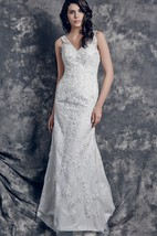 Romantic Sleeveless V-neck All-over Lace Applique and Charmeuse Satin Wedding Gown