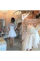 Beautiful White Lace Homecoming Dress 2016 Short Long Sleeve Cocktail Dress