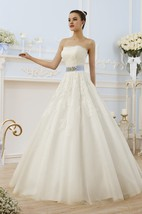 A-Line Long Strapless Sleeveless Backless Lace Dress With Appliques And Waist Jewellery