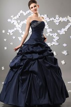 Taffeta Strapless Pick-Up Ruffled Ball Gown With Beading