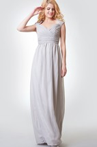 Queen Anne Neckline Ruched A-line Long Chiffon Dress