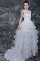 Romantic Ruffled Wedding Dress With Waistband