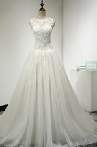 Tulle and Lace A-Line Sleeveless Dress With Jewel Neckline and Keyhole Back
