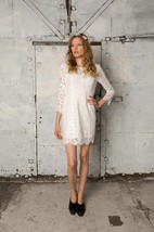Sheath Short Long Sleeve Lace Dress With Low-V Back