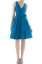 V-neck A-line Satin Short Dress with Bow