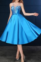 Sheer Neck Beading Sashes Tea-Length Prom Dress