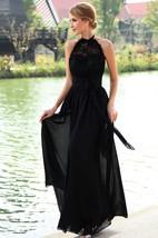 Chiffon High-Neck Strapless Floor-Length Dress With Halter