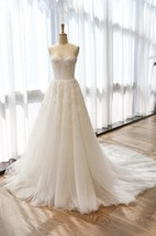 A-Line Tea-Length Sweetheart Sleeveless Bell Flower Zipper Keyhole Tulle Lace Satin Dress