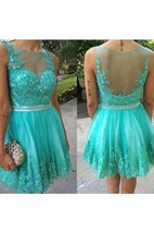 Sleeveless Jewel Neck Backless Lace Short Prom Gown