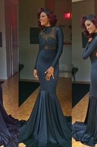 Sexy Mermaid High Neck Evening Dresses Appliques Long Sleeve Prom Gowns