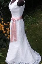 V-Neck Sleeveless Sheath Lace Dress With Bow Satin Sash