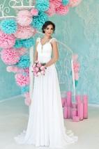 A-Line Floor-Length V-Neck Cap-Sleeve Lace-Up Chiffon Dress With Pleats