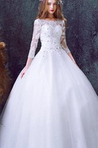 Romantic Tulle Lace Beadings Wedding Dress 2016 3-4-Long Sleeve Princess
