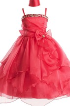 Sleeveless A-line Ruffled Dress With Sequins and Bow