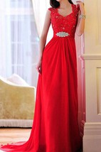 Charming A-Line Straps Appliques Evening Dress