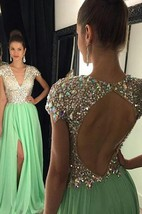 Stunning Cap Sleeve Crystal 2016 Prom Dresses 2016 Open Back Long Chiffon Prom Gown