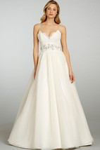 Refined Spaghetti Strap Lace Bodice Organza Ball Gown With Lace Up Back
