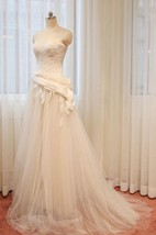 A-Line Long Straps Sleeveless Bell Appliques Zipper Straps Keyhole Tulle Lace Satin Dress