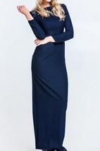 Bateau Long Sleeve Sheath Jersey Long Dress With Split