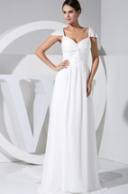 Queen Anne Chiffon Floor-Length Dress With Ruching and Beading