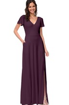 Chiffon Short-Sleeved A-Line Delicate V-Neck Gown