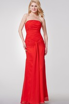 Simple Strapless Ruched Long Chiffon Dress With Draping
