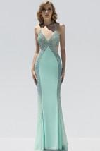 Sheath Floor-Length Spaghetti Sleeveless Jersey Beading Backless Dress