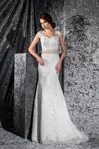 Sheath Long Cap-Sleeve Illusion Lace Dress With Appliques