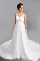 Sleeveless A-Line V-Neck Tulle Dress With Low-V Back and Lace Bodice