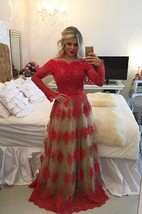 Modern Off-the-shoulder Red Prom Dress 2016 Lace Long Sleeve