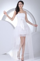 Sleeveless Asymmetrical A-Line Gown With Bowed Sash and Lace Embellishment