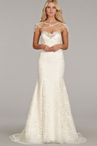 Luxurious Sweetheart Neckline Lace Fit and Flare Gown With Jewel Embellishment